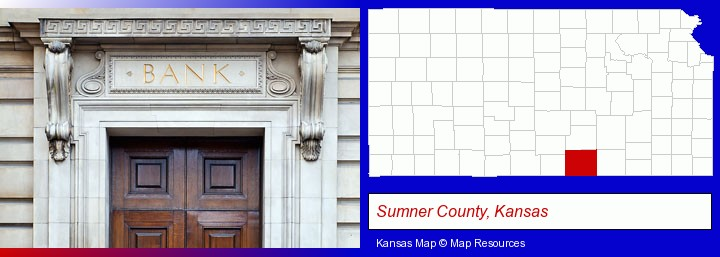 a bank building; Sumner County, Kansas highlighted in red on a map