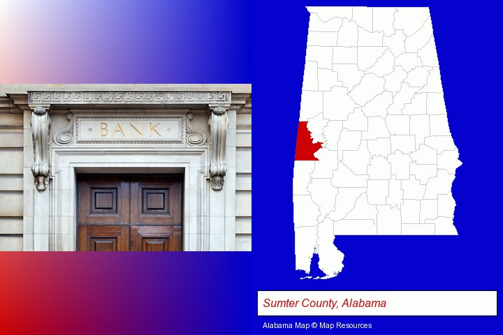 a bank building; Sumter County, Alabama highlighted in red on a map
