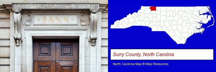 a bank building; Surry County, North Carolina highlighted in red on a map