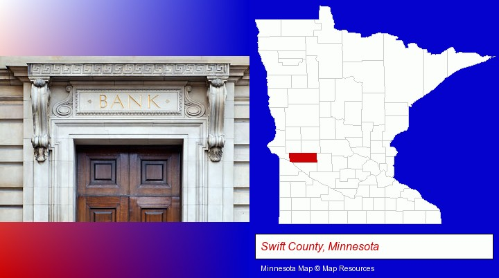 a bank building; Swift County, Minnesota highlighted in red on a map