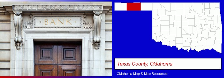 a bank building; Texas County, Oklahoma highlighted in red on a map