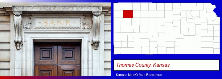 a bank building; Thomas County, Kansas highlighted in red on a map