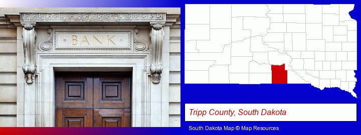 a bank building; Tripp County, South Dakota highlighted in red on a map