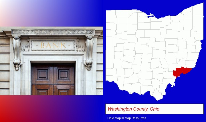 a bank building; Washington County, Ohio highlighted in red on a map