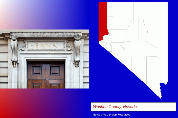 a bank building; Washoe County, Nevada highlighted in red on a map