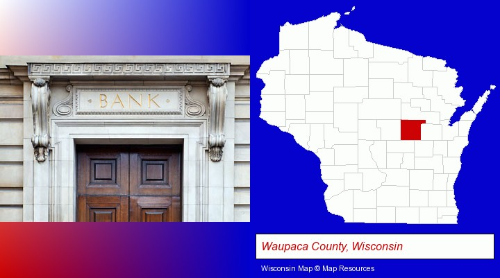 a bank building; Waupaca County, Wisconsin highlighted in red on a map