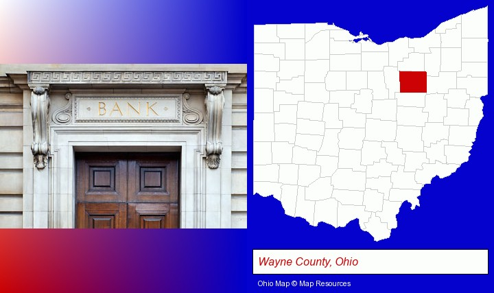 a bank building; Wayne County, Ohio highlighted in red on a map