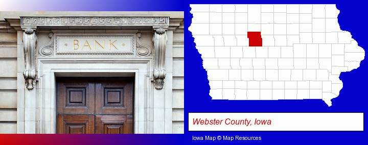 a bank building; Webster County, Iowa highlighted in red on a map