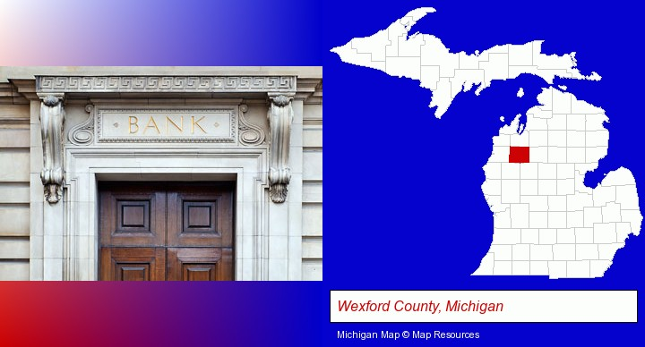 a bank building; Wexford County, Michigan highlighted in red on a map