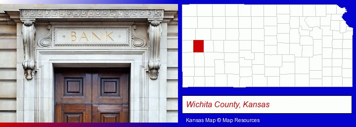 a bank building; Wichita County, Kansas highlighted in red on a map
