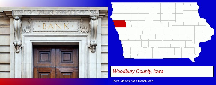 a bank building; Woodbury County, Iowa highlighted in red on a map